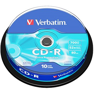 Média Verbatim CD-R DataLife Protection 52x, 10ks cakebox