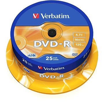 Média Verbatim DVD-R 16x, 25ks CakeBox