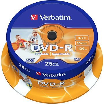 Média Verbatim DVD-R 16x, Printable 25ks cakebox