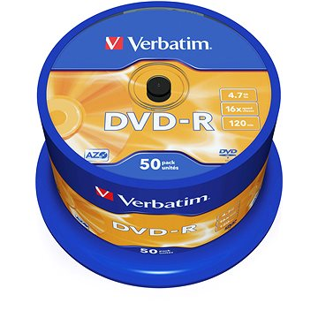 Média Verbatim DVD-R 16x, 50ks CakeBox