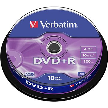 Média Verbatim DVD + R 16x, 10ks CakeBox