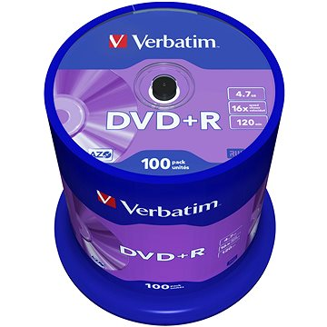 Média Verbatim DVD + R 16x, 100ks CakeBox