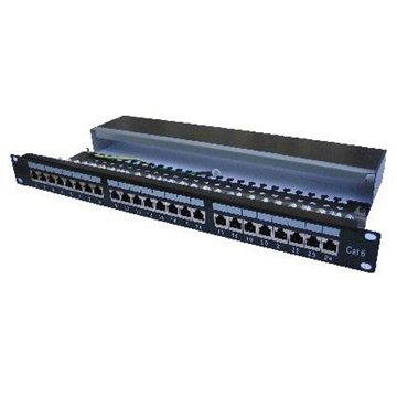 Patch panel Datacom, 24x RJ45, priamy, CAT6, STP, čierny, 1U