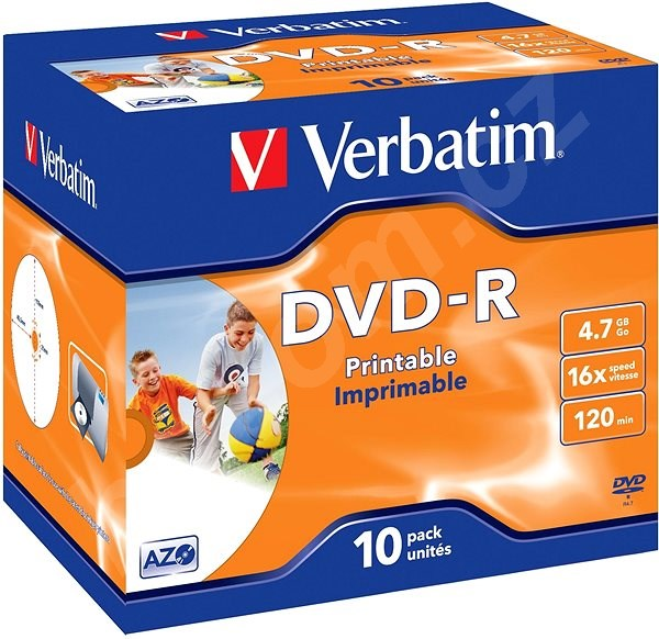 Média VERBATIM DVD-R AZO 4.7GB, 16x, printable, jewel case 10 ks