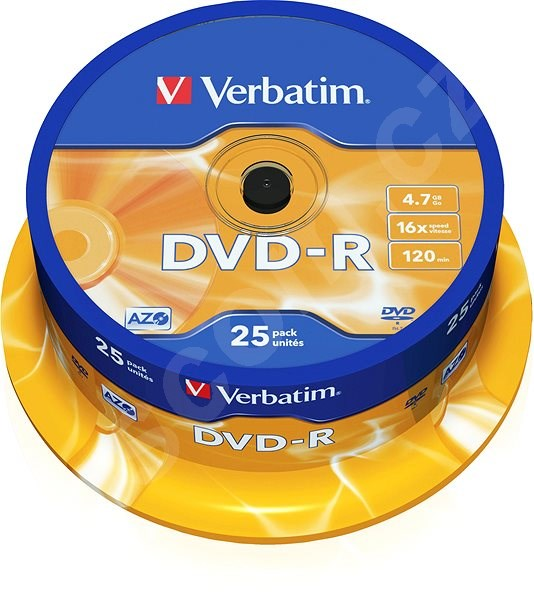 Média VERBATIM DVD-R AZO 4.7GB, 16x, spindle 25 ks