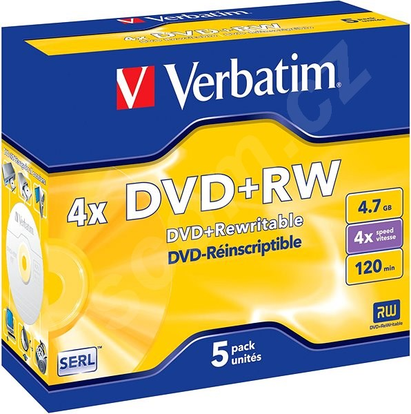 Média VERBATIM DVD+RW SERL 4.7GB, 4x, jewel case 5 ks