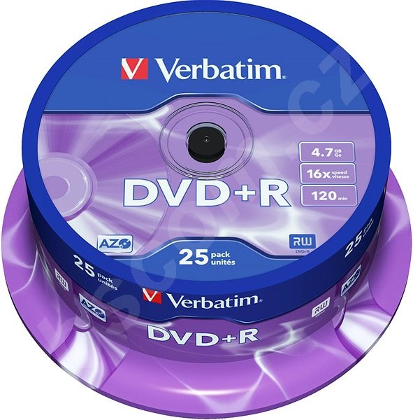 Média VERBATIM DVD+R AZO 4.7GB, 16x, spindle 25 ks