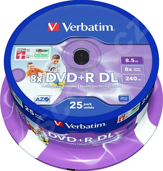 Média VERBATIM DVD+R DL AZO 8.5GB, 8x, printable, spindle 25 ks