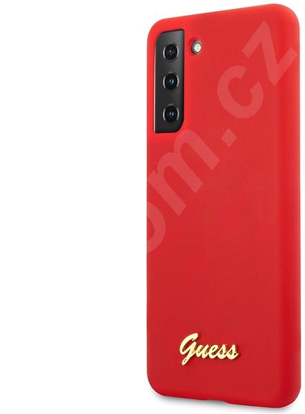 Kryt na mobil Guess Silicone Metal Logo Script Zadní Kryt pro Samsung Galaxy S21+ Red