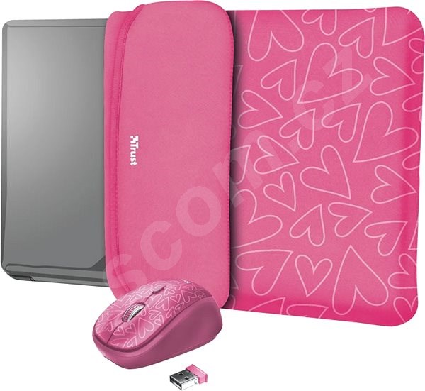 Pouzdro na notebook TRUST YVO MOUSE & SLEEVE F/15.6 – PINK
