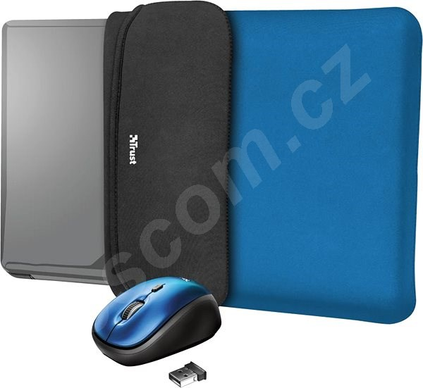 Pouzdro na notebook TRUST YVO MOUSE & SLEEVE F/15.6 – BLUE