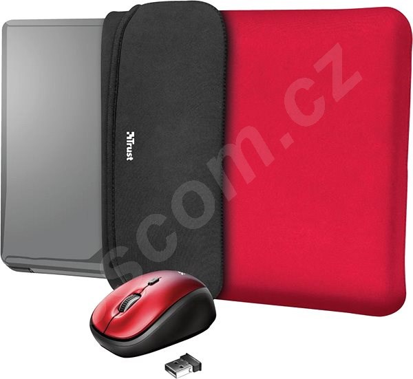 Pouzdro na notebook TRUST YVO MOUSE & SLEEVE F/15.6 – RED